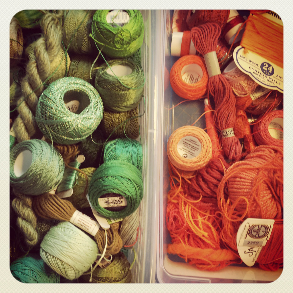Shoeboxes of thread-7349